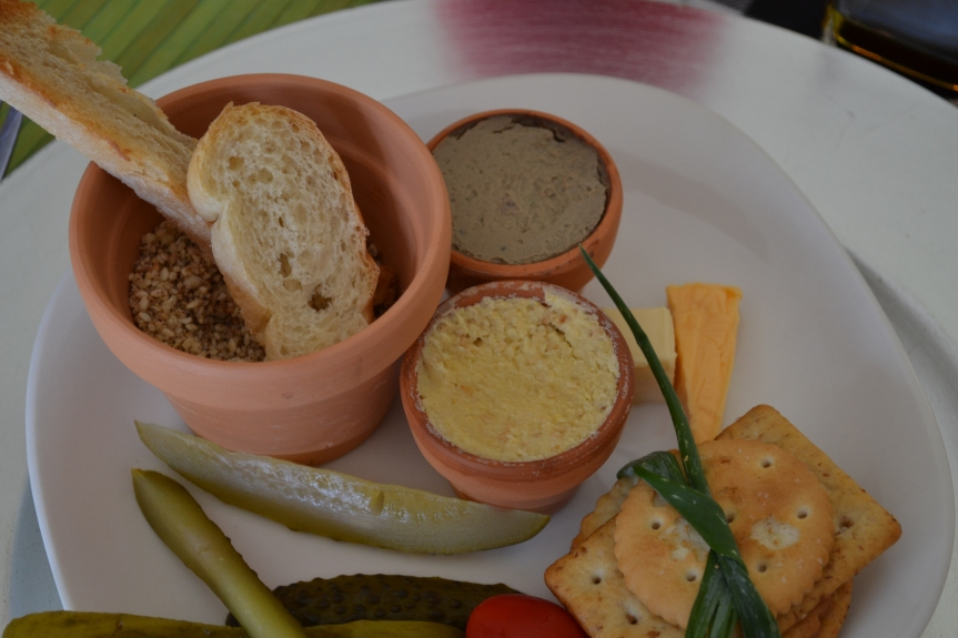 Chriistmas lunch -Starter, Biscuits, liver pate', hummus, Dukkah