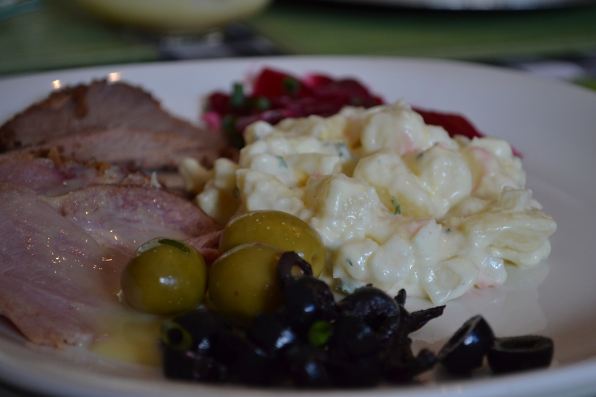 Christmas Lunch, Potato salad, Beetroot salad, olives, Gammon and Rolled Prime rib.
