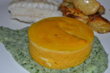 Carrot mousse with a spinach sauce