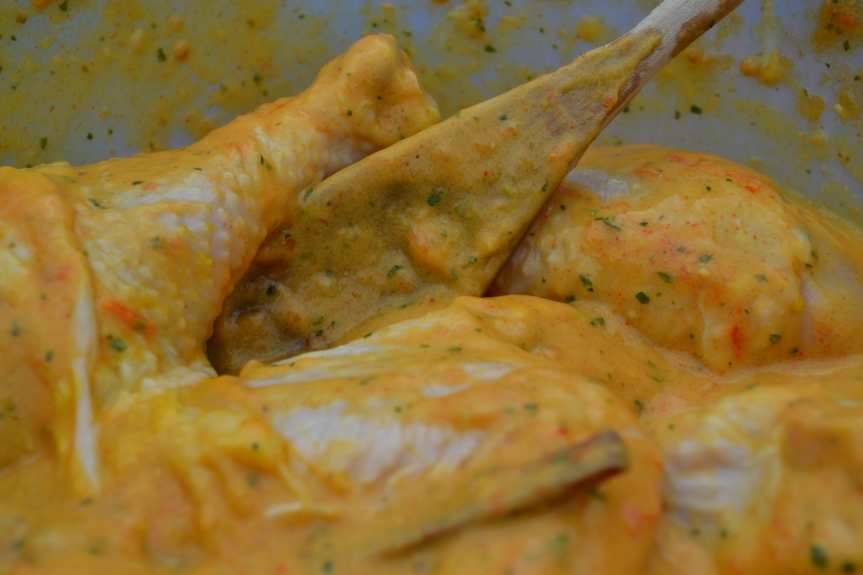 Biriyani chicken busy marinating