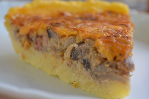 Polenta, mushroom and bacon tart