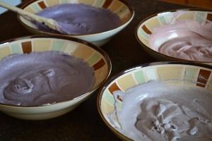 Cake batter for ombre cake