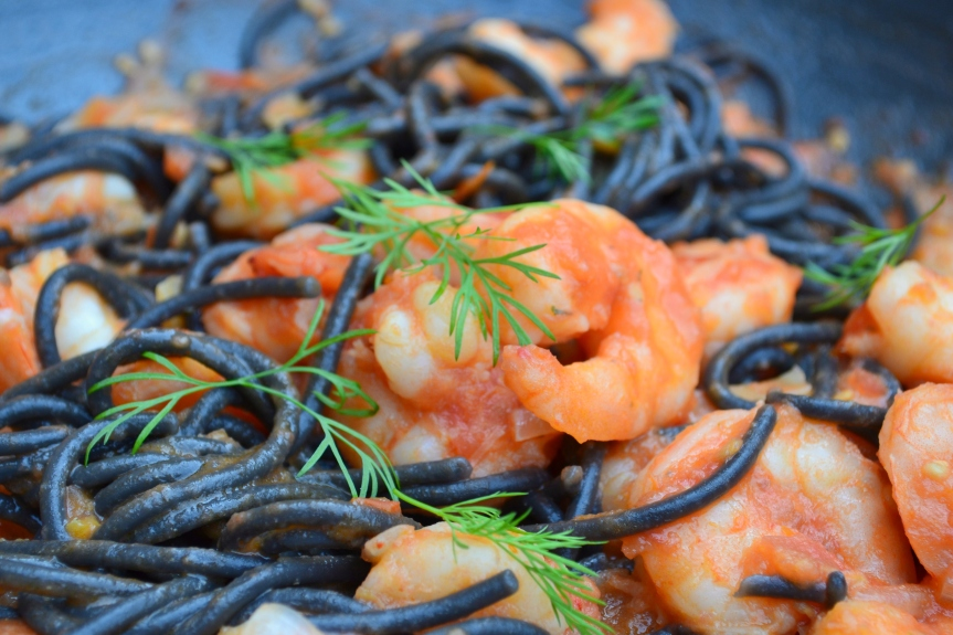 Black Spaghetti with Prawns and Tomato sauce